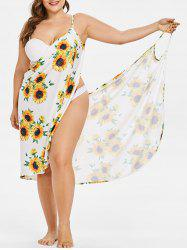 Sunflower Print Plus Size Beach Dress -