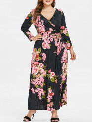 Plus Size Print Maxi Surplice Dress -