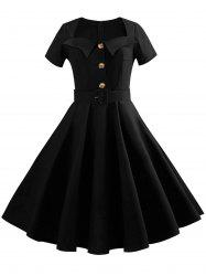 Sweetheart Neck Button Embellished Vintage Dress -