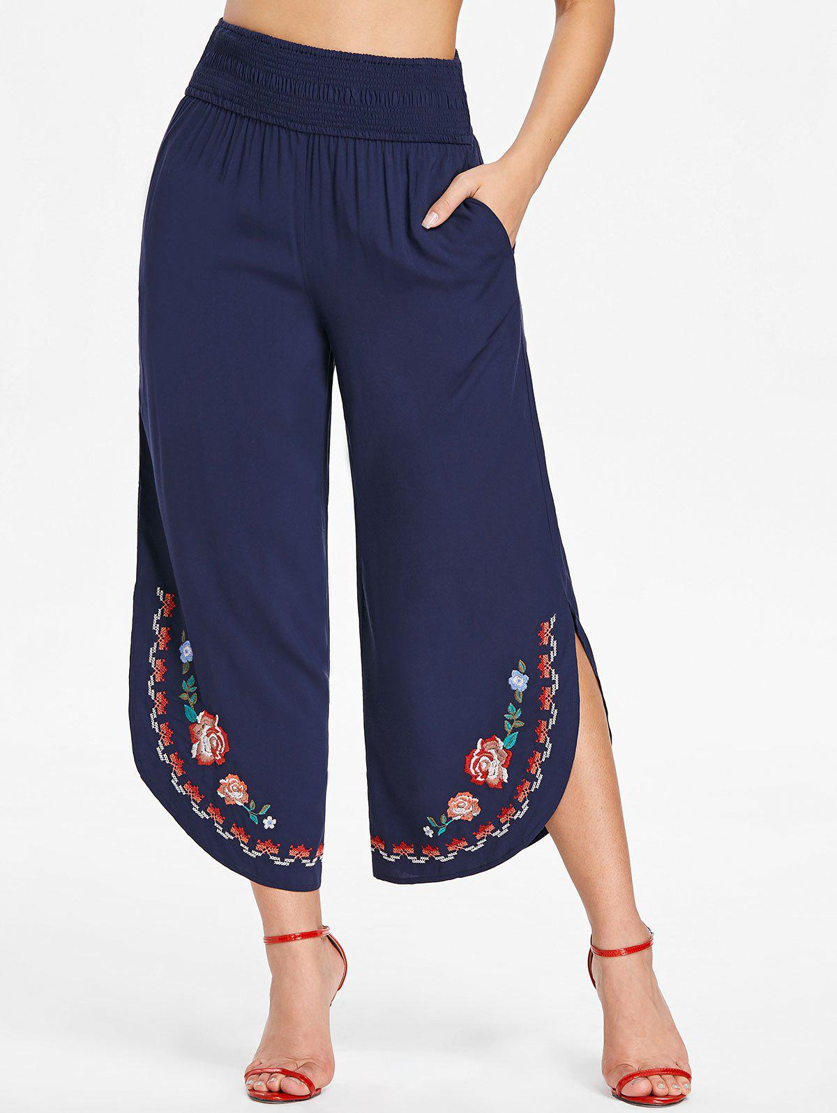 Discount Shirred Waist Embroidered Palazzo Pants