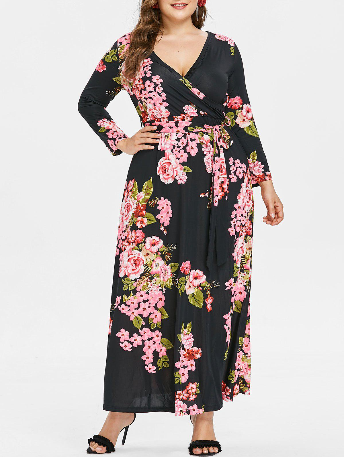 Outfit Plus Size Print Maxi Surplice Dress