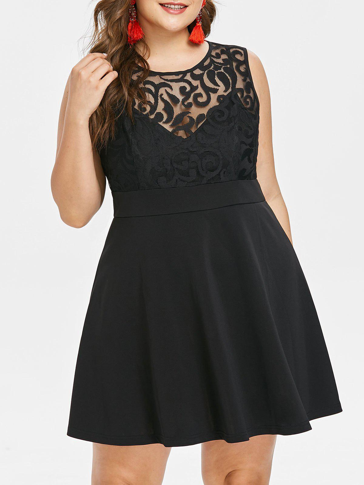 Unique Plus Size Mesh Panel Sleeveless Dress