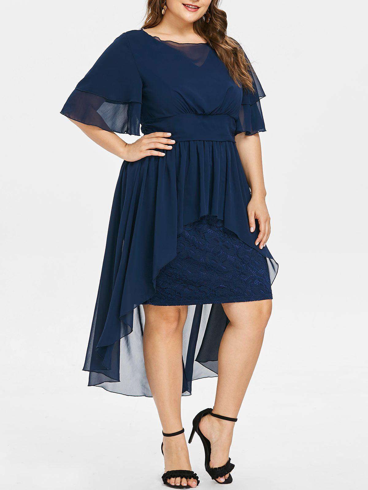 41% OFF] Lace Panel Plus Size High Low Dress | Rosegal