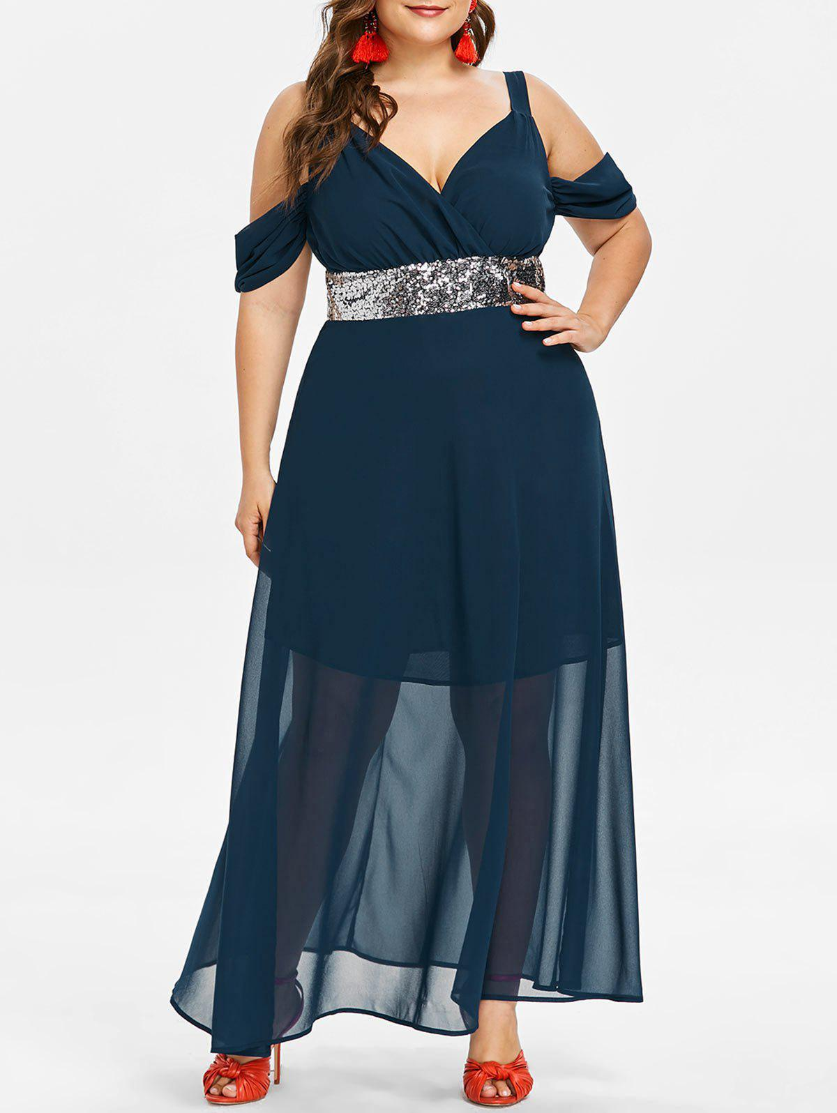 Plus Size Sequins Cold Shoulder Maxi Dress, Cadetblue