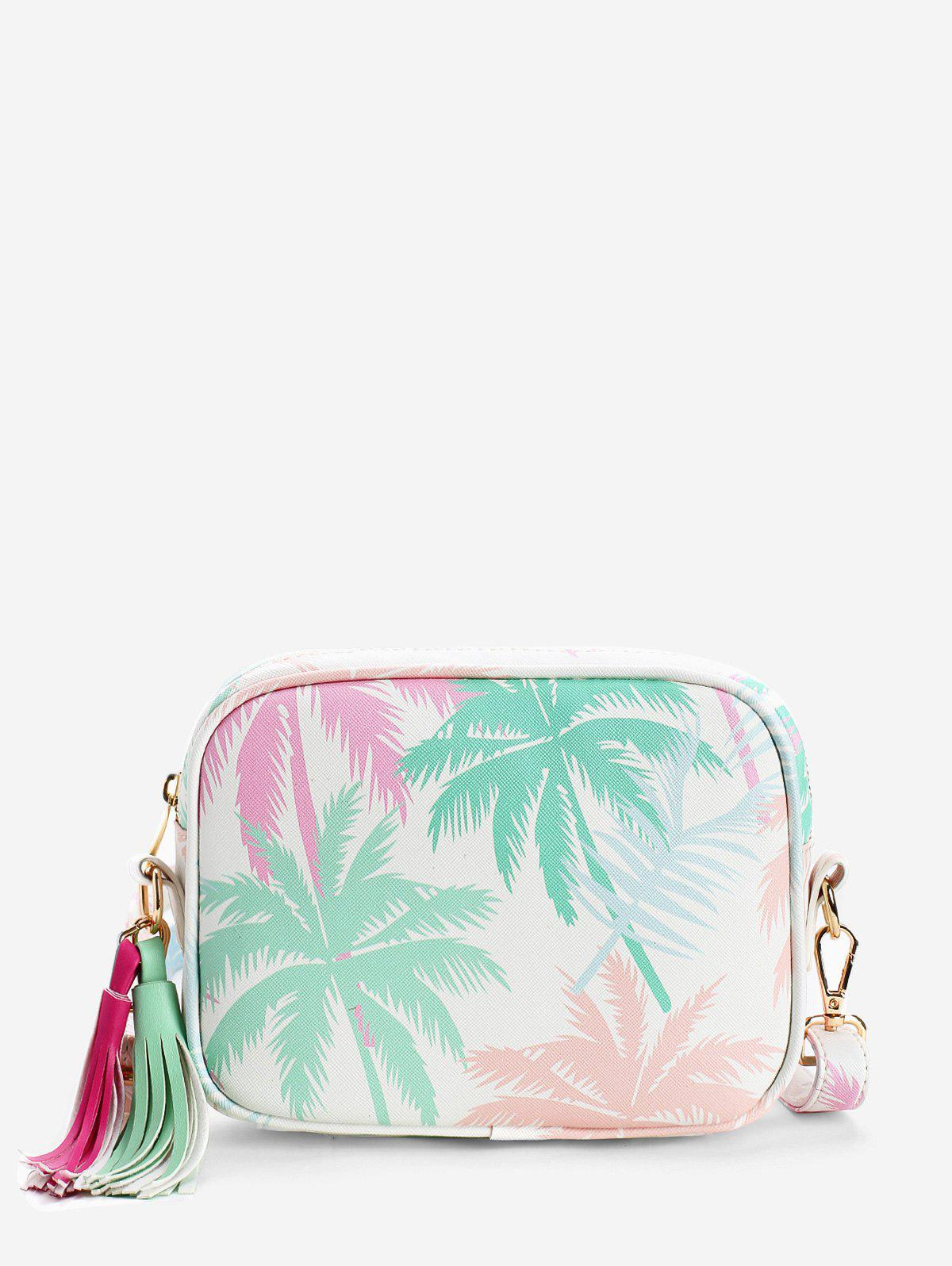 Chic Leisure Holiday Tropical Leaves Print Tassels Crossbody Bag