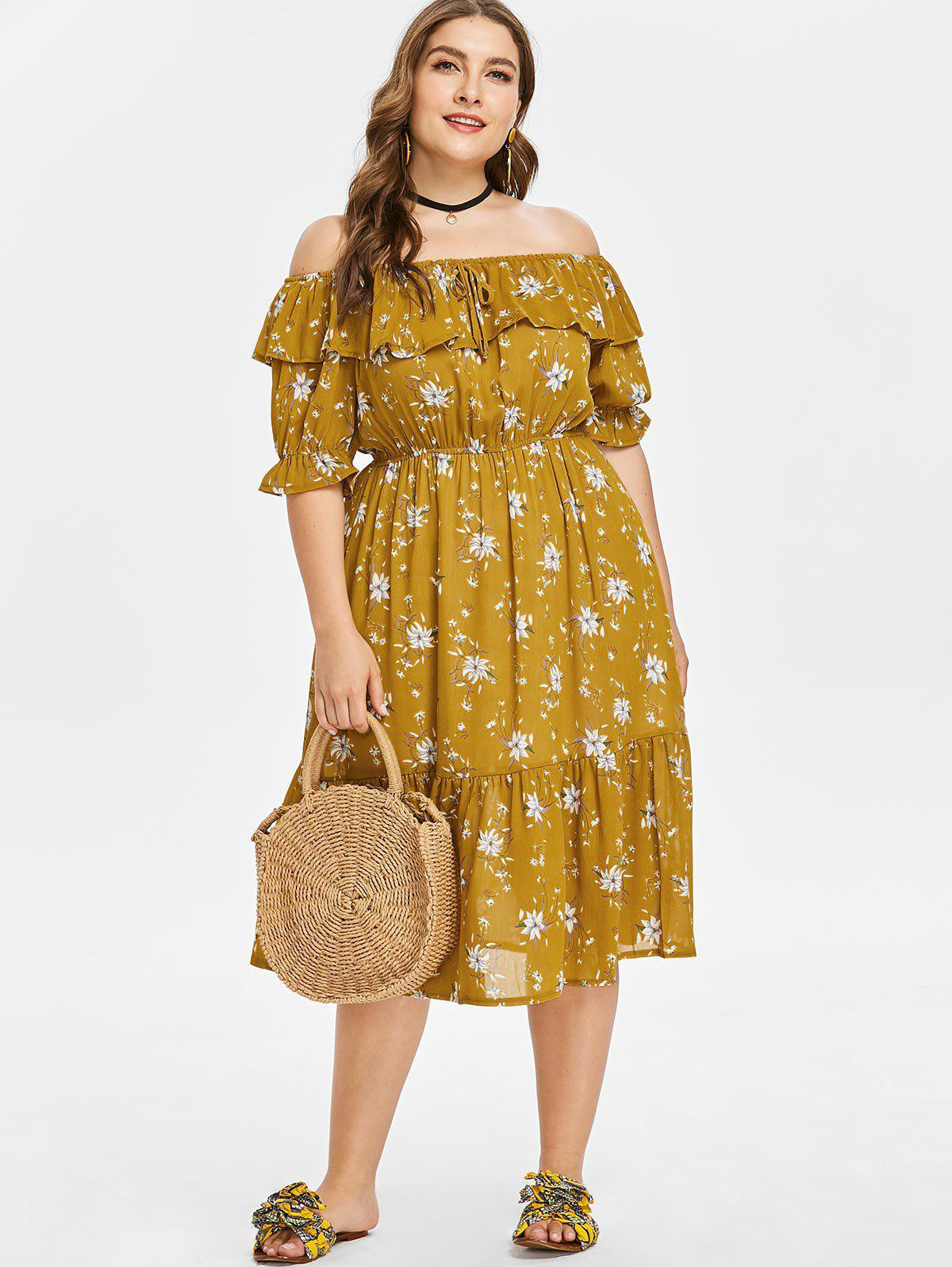 30% OFF] Floral Print Off Shoulder Plus Size Dress | Rosegal