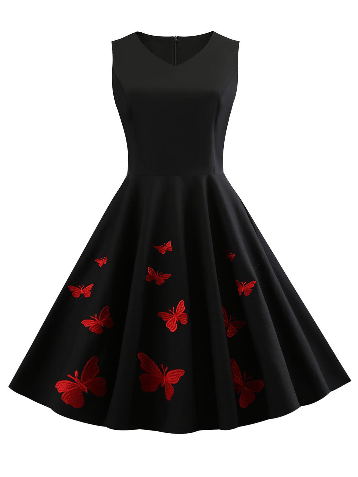 Buy Butterfly Embroidery V Neck Vintage Dress