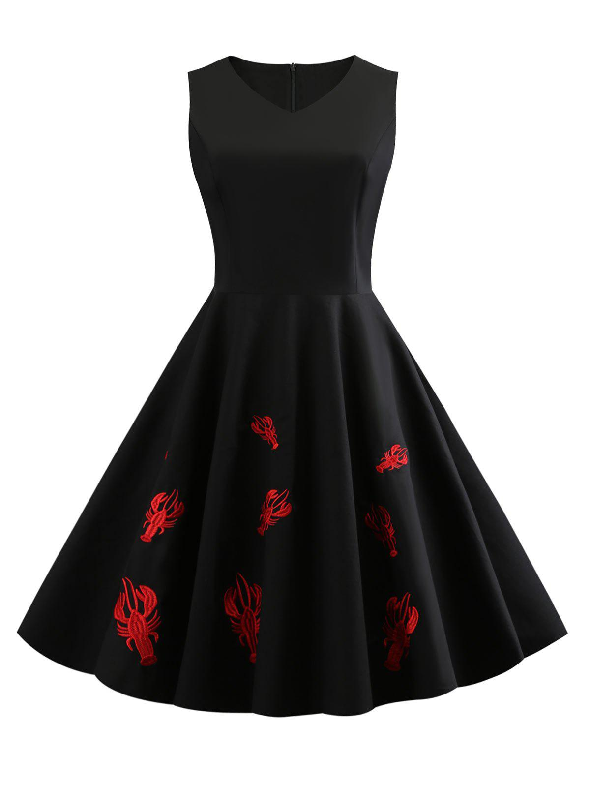 Chic Cray Embroidery V Neck Vintage Dress