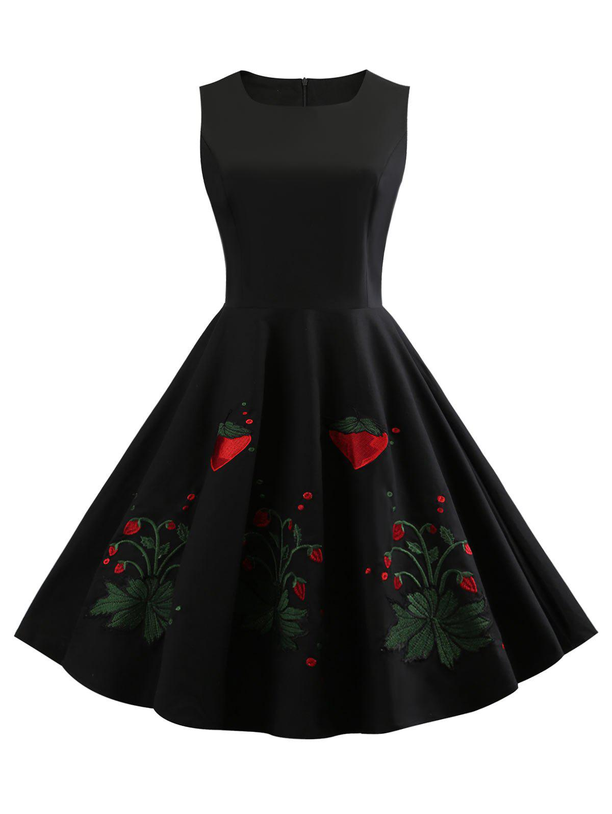 Latest Strawberry Embroidery Round Neck Vintage Dress