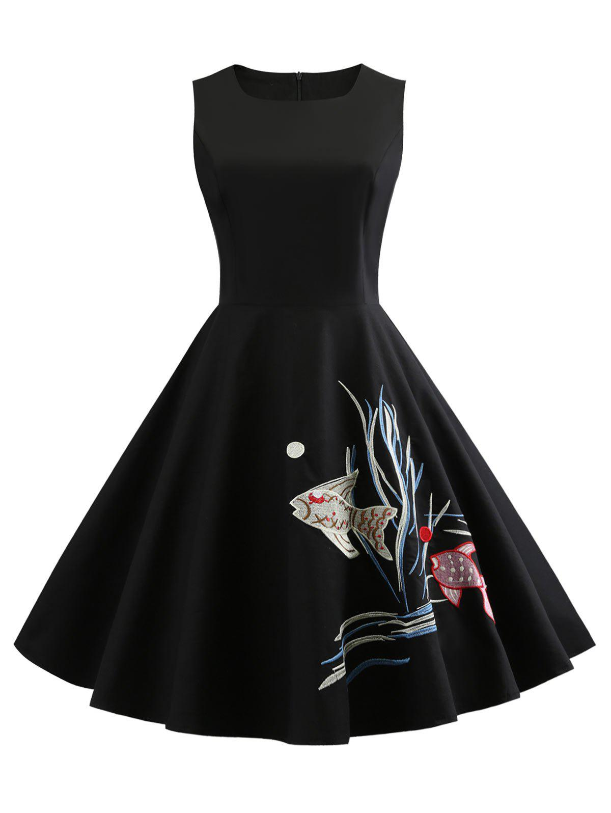 Store Sleeveless Fish Embroidery Vintage Dress