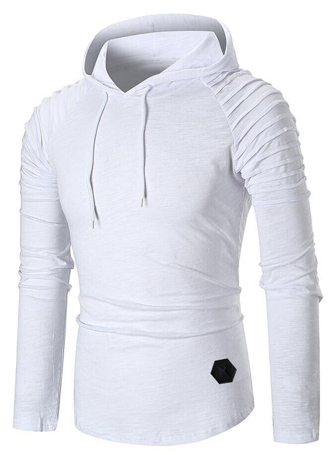 Store Pleated Raglan Sleeve Hem Curved Hooded Tee