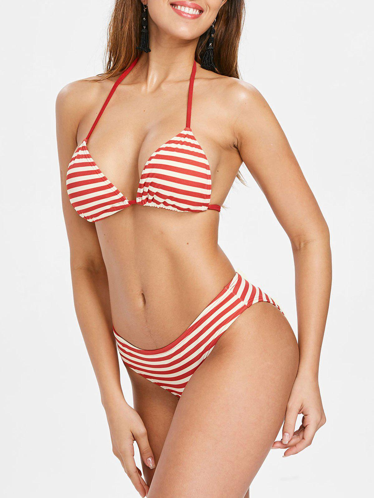 Hot Halter Neck Padded Striped Bikini Set