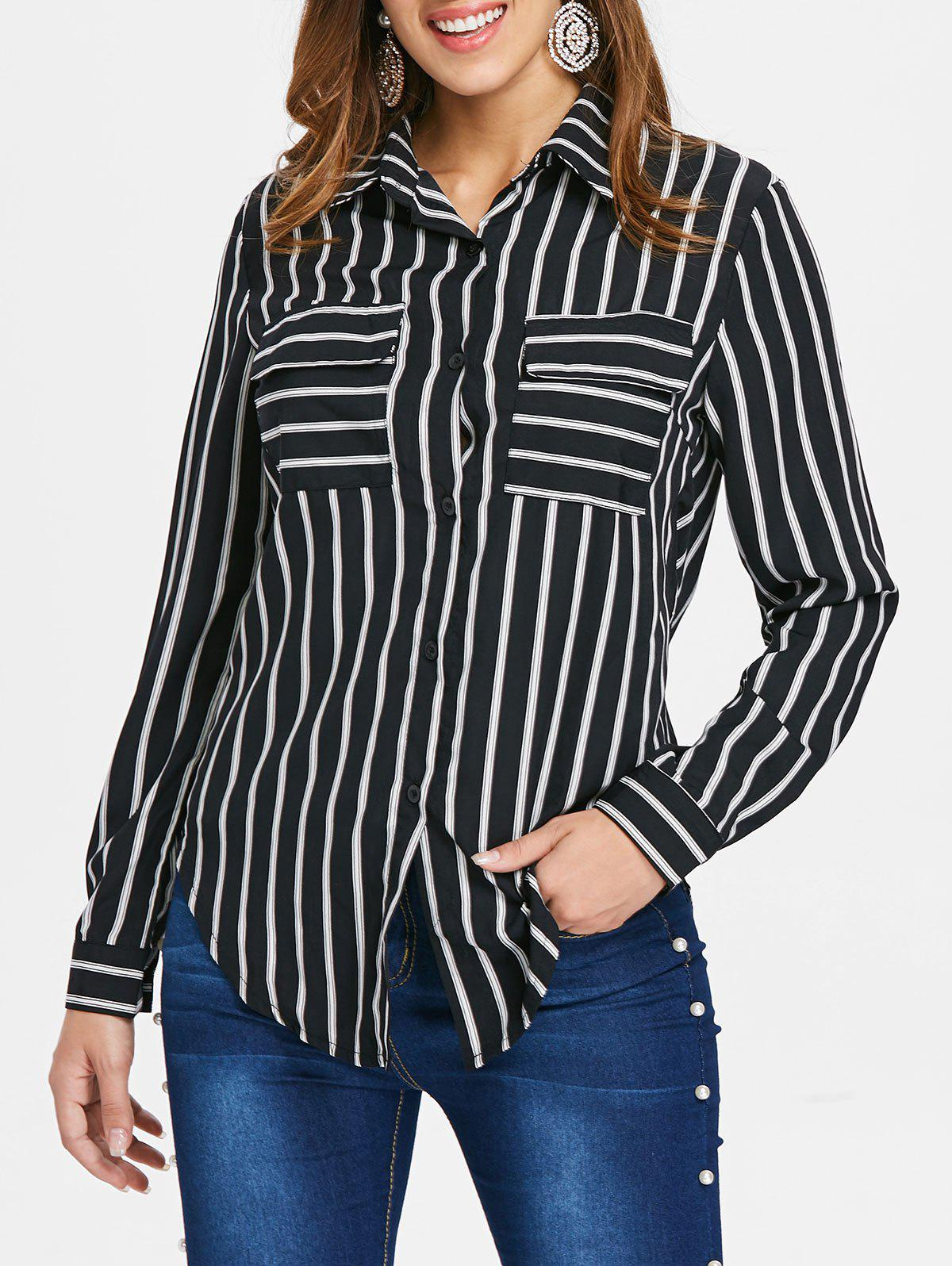 New Striped Front Pockets Shirt