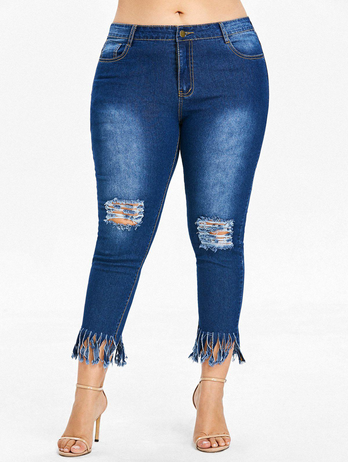 Fashion Plus Size Ripped Fringe Hem Jeans