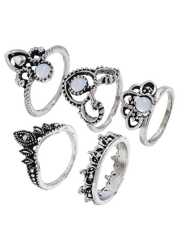 New Retro Faux Gem Hollow Out Crown Ring Set