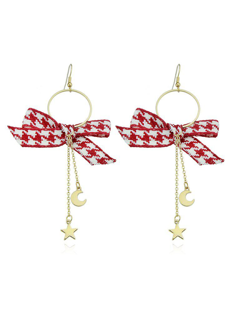 Shops Circle Long Chain Earrings With Bow
