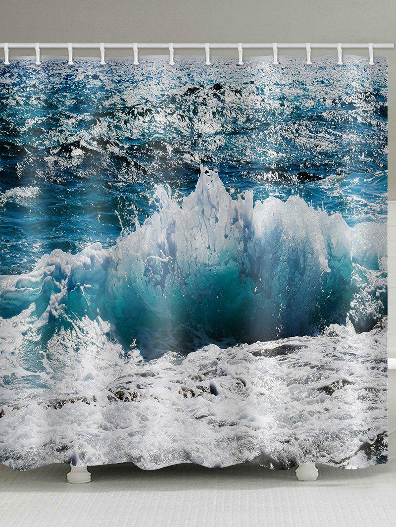 Discount Ocean Waves Pattern Waterproof Bathroom Shower Curtain