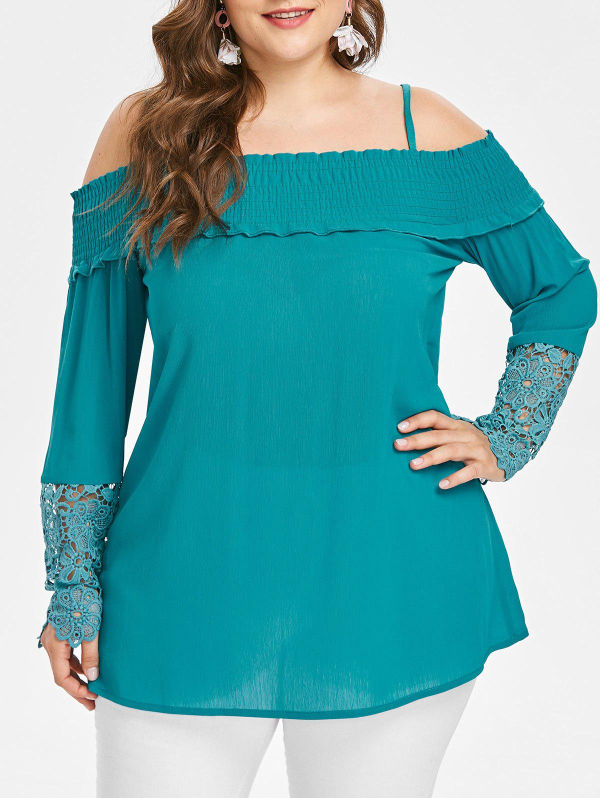Fancy Lace Panel Sleeve Plus Size Open Shoulder Blouse