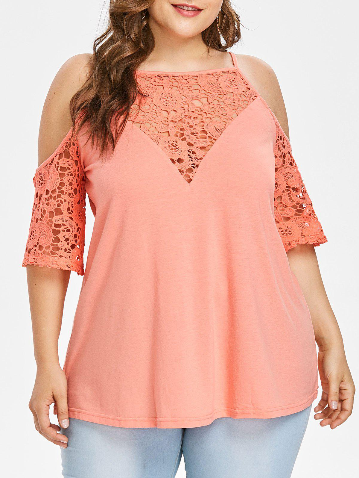 Chic Plus Size Cutwork Lace Open Shoulder T-shirt