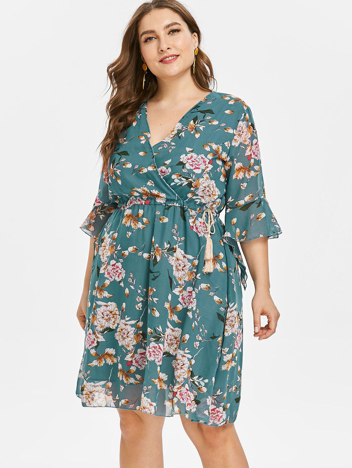 New Floral Plus Size Skater Dress