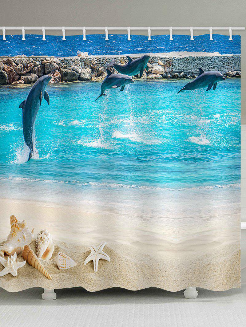 Best Beach Dolphin Print Waterproof Bathroom Shower Curtain