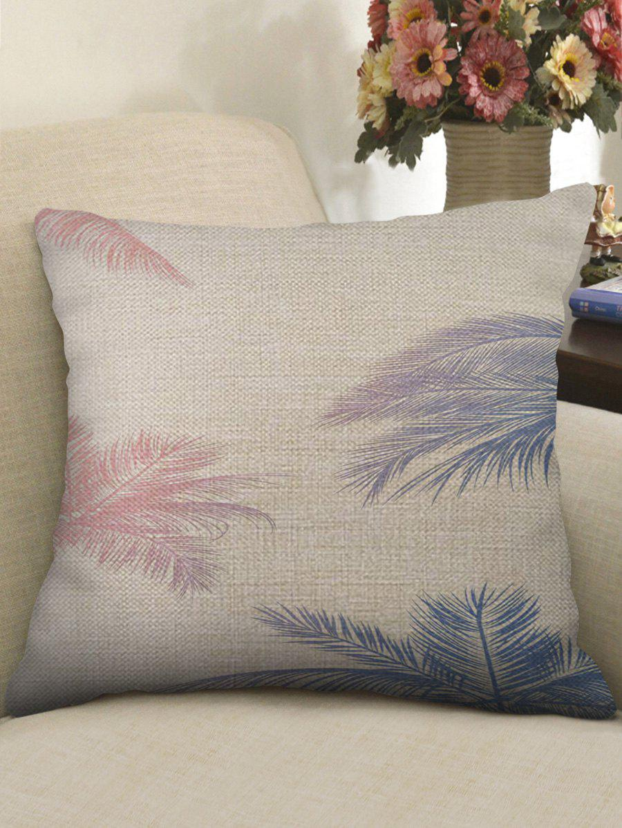 Sale Palm Leaf Print Decorative Linen Sofa Pillowcase