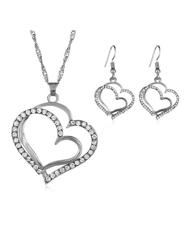 Cheap Rhinestone Heart Shape Necklace Hook Earrings Set