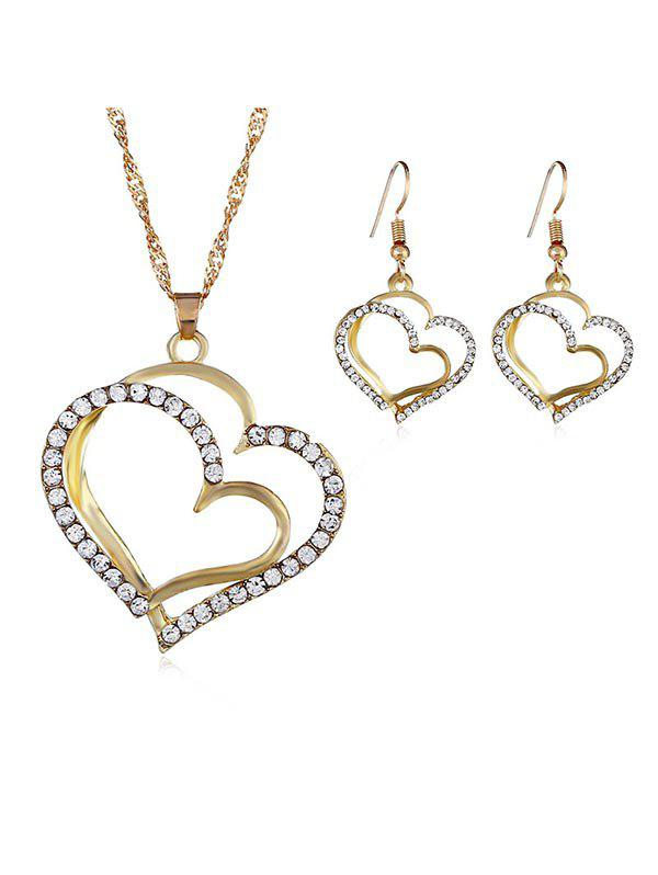 Fancy Rhinestone Heart Shape Necklace Hook Earrings Set
