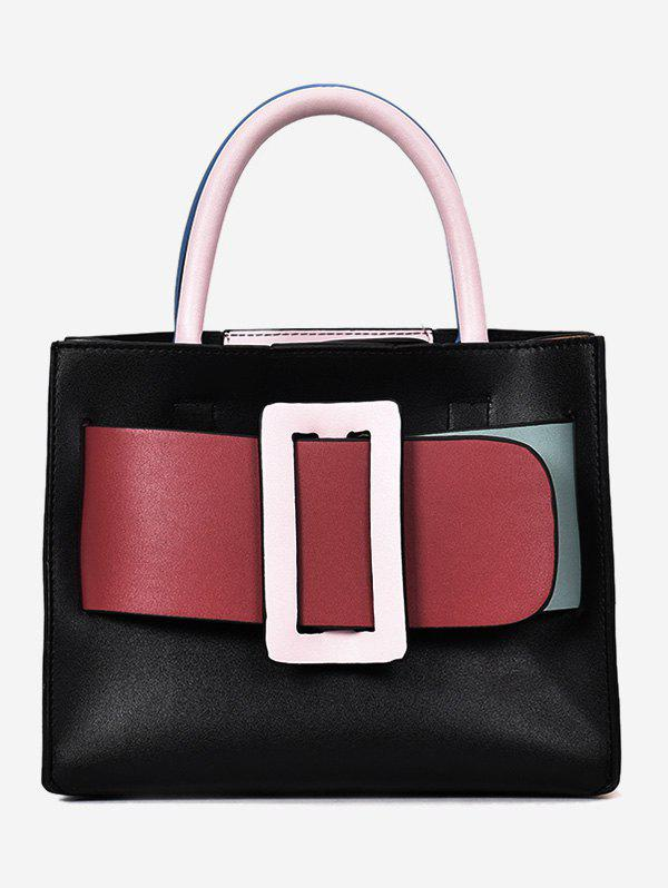 Buy Color Block Buckled Belt Minimalist Shopping Handbag
