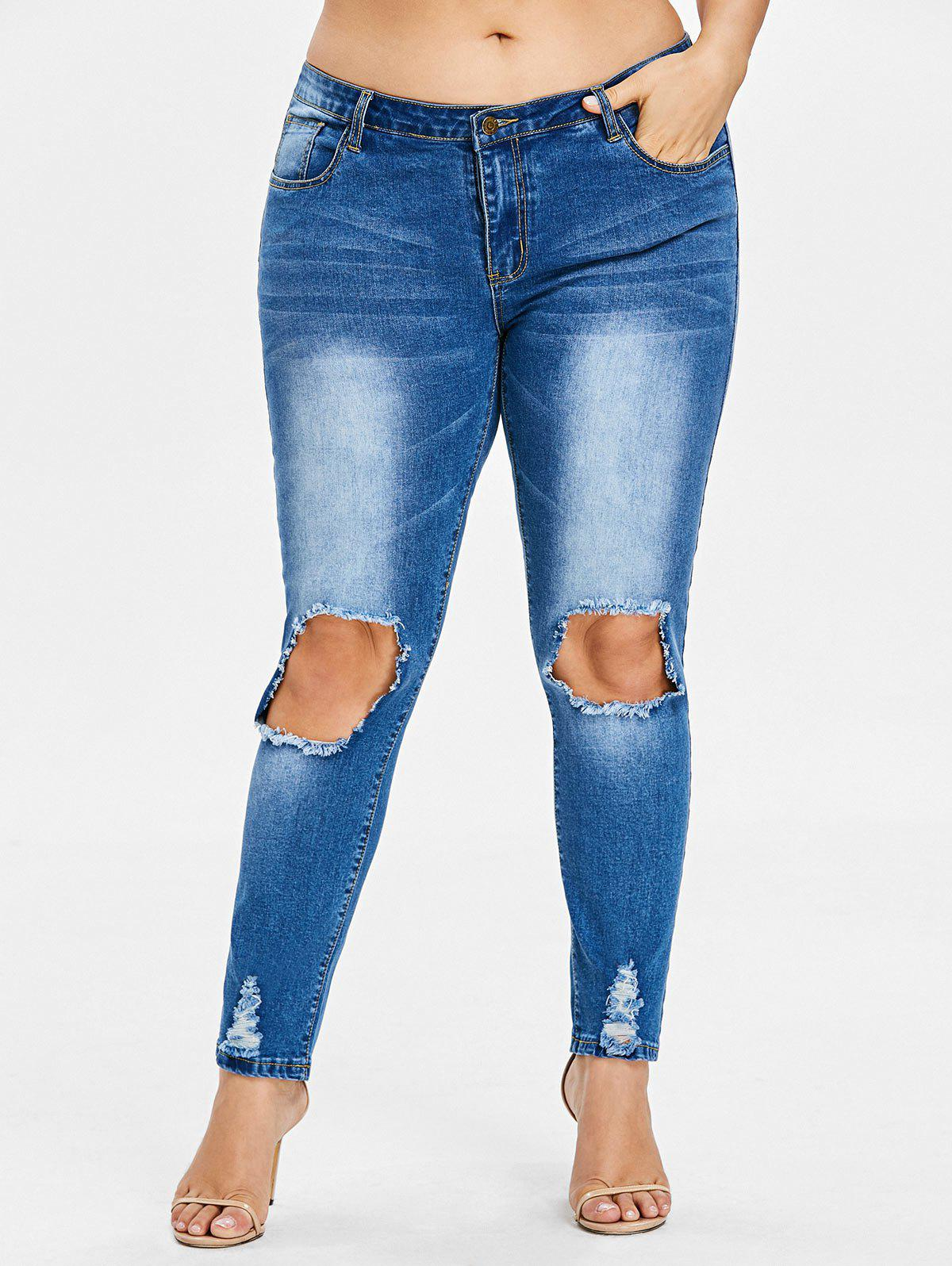 Affordable Rosegal Plus Size Threadbare Holes Skinny Jeans