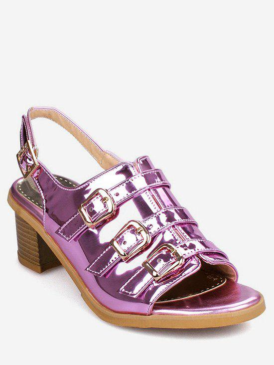 Shops Plus Size Low Heel Holographic Buckles Slingback Sandals