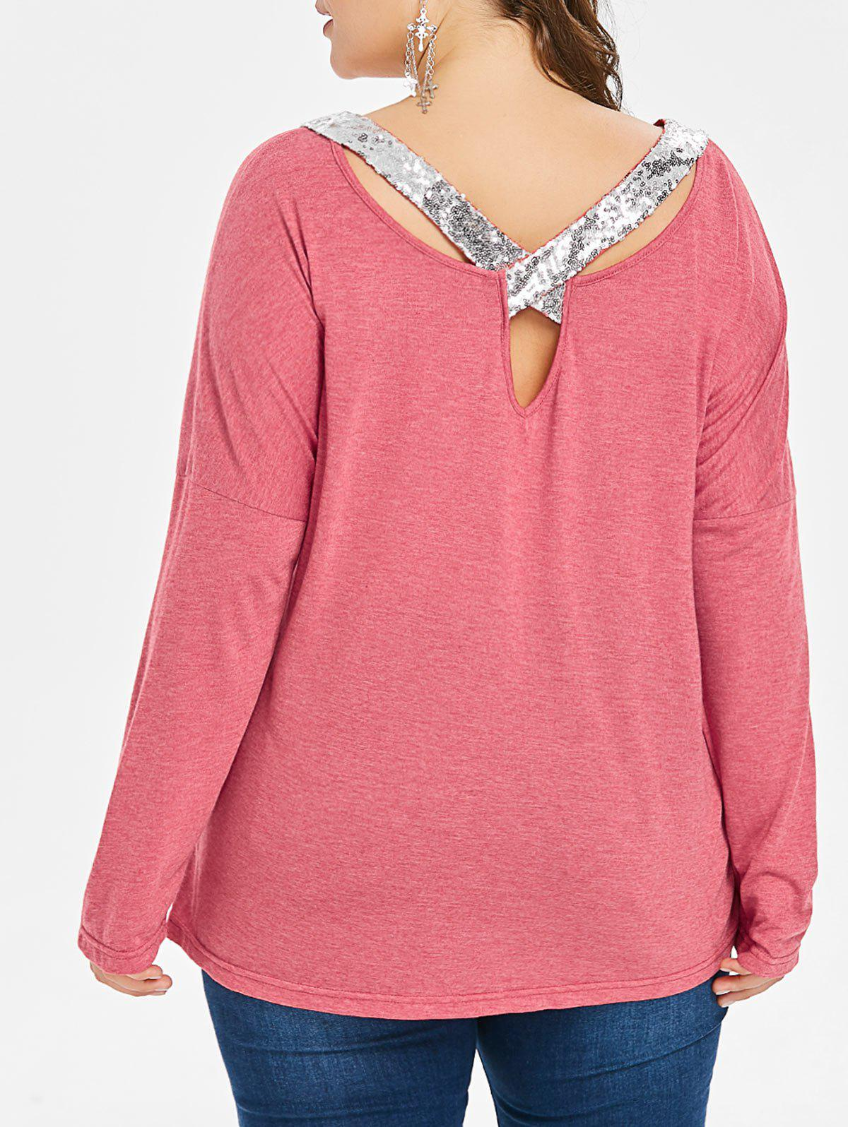Chic Plus Size Sequined Detail Long Sleeve T-shirt