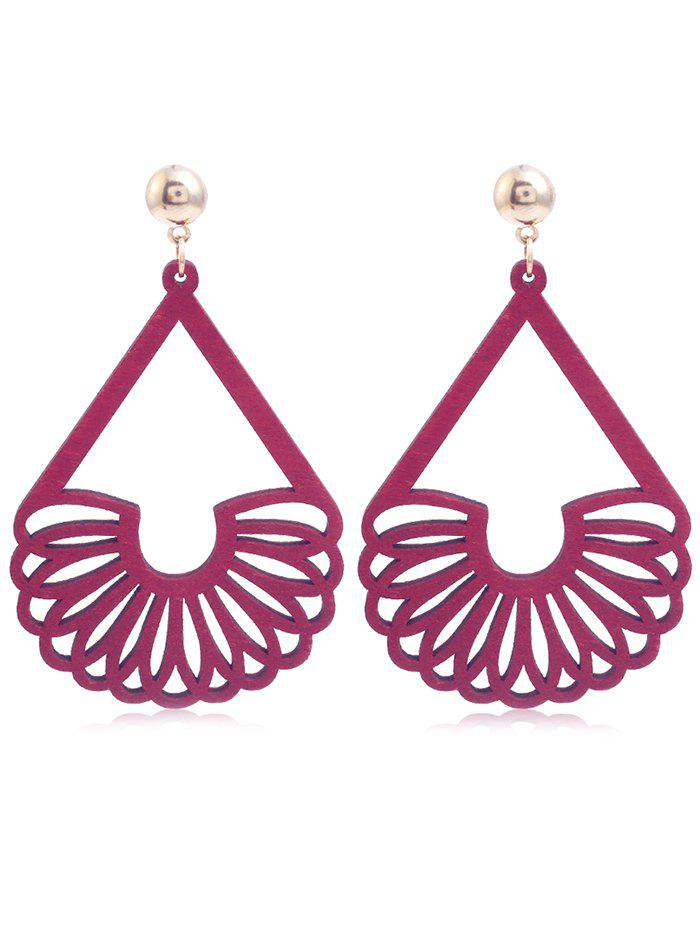 Fancy Bohemian Hollow Out Fan Shaped Wooden Earrings