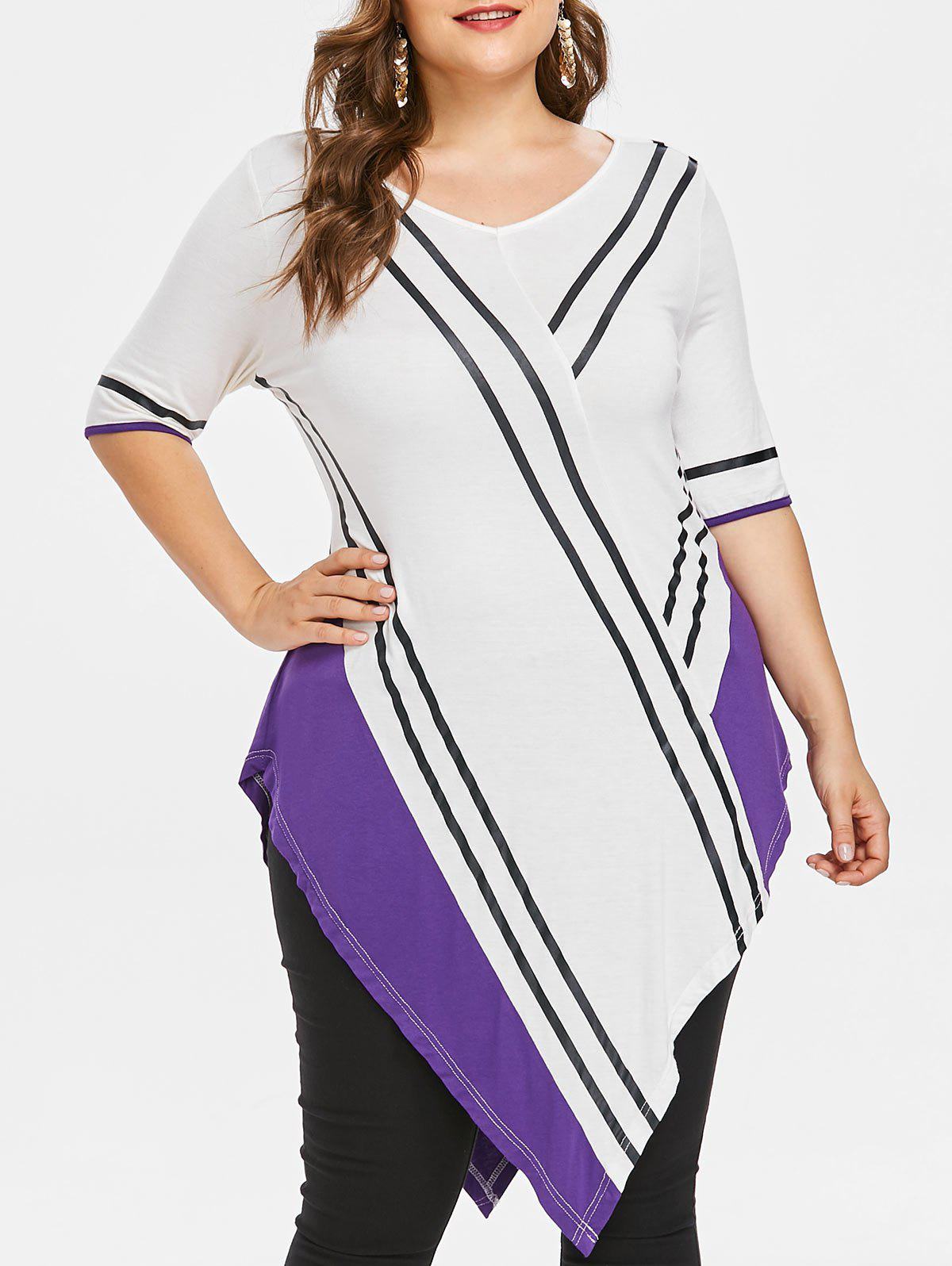 Unique Plus Size V Neck Asymmetric T-shirt