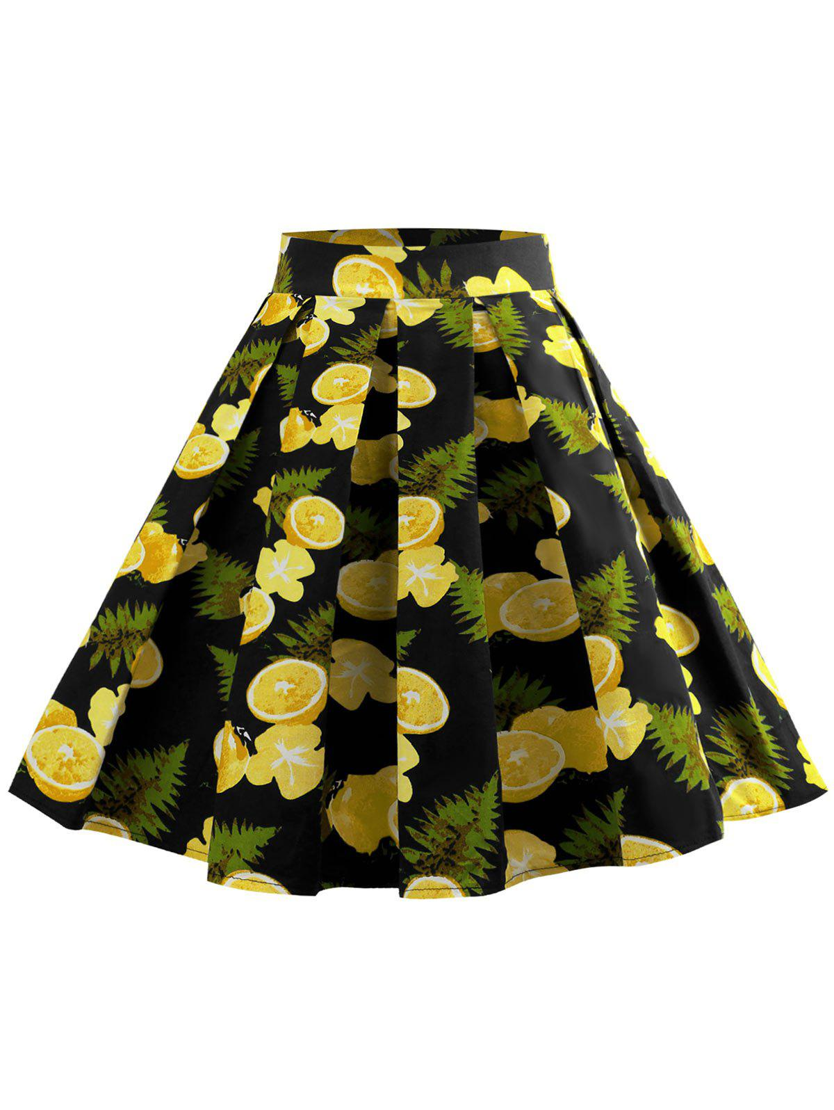 Unique Fruit Print Zipper Waist A Line Skirt