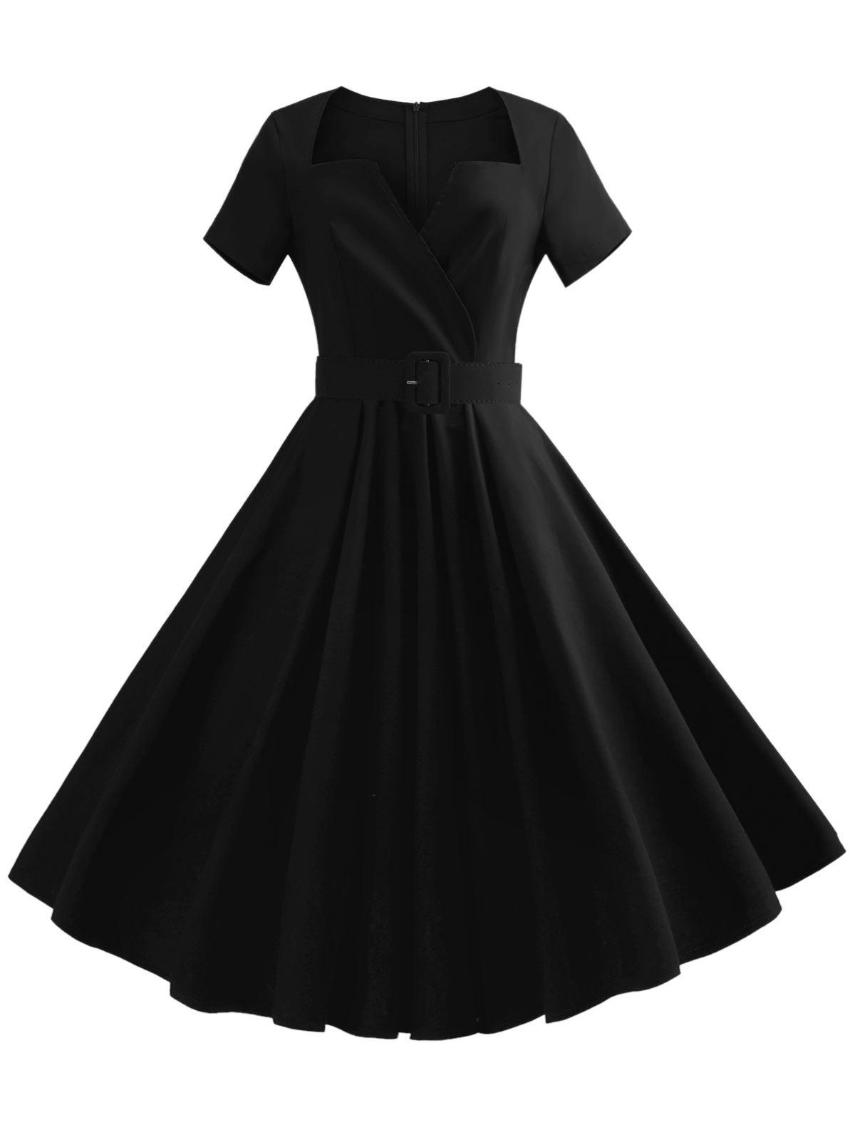 New V Neck Vintage Dress with Belt