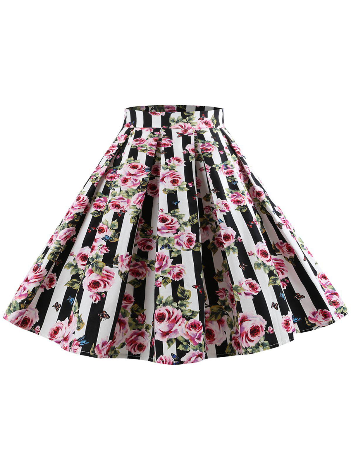 Discount Floral Print Zipper Waist Skirt