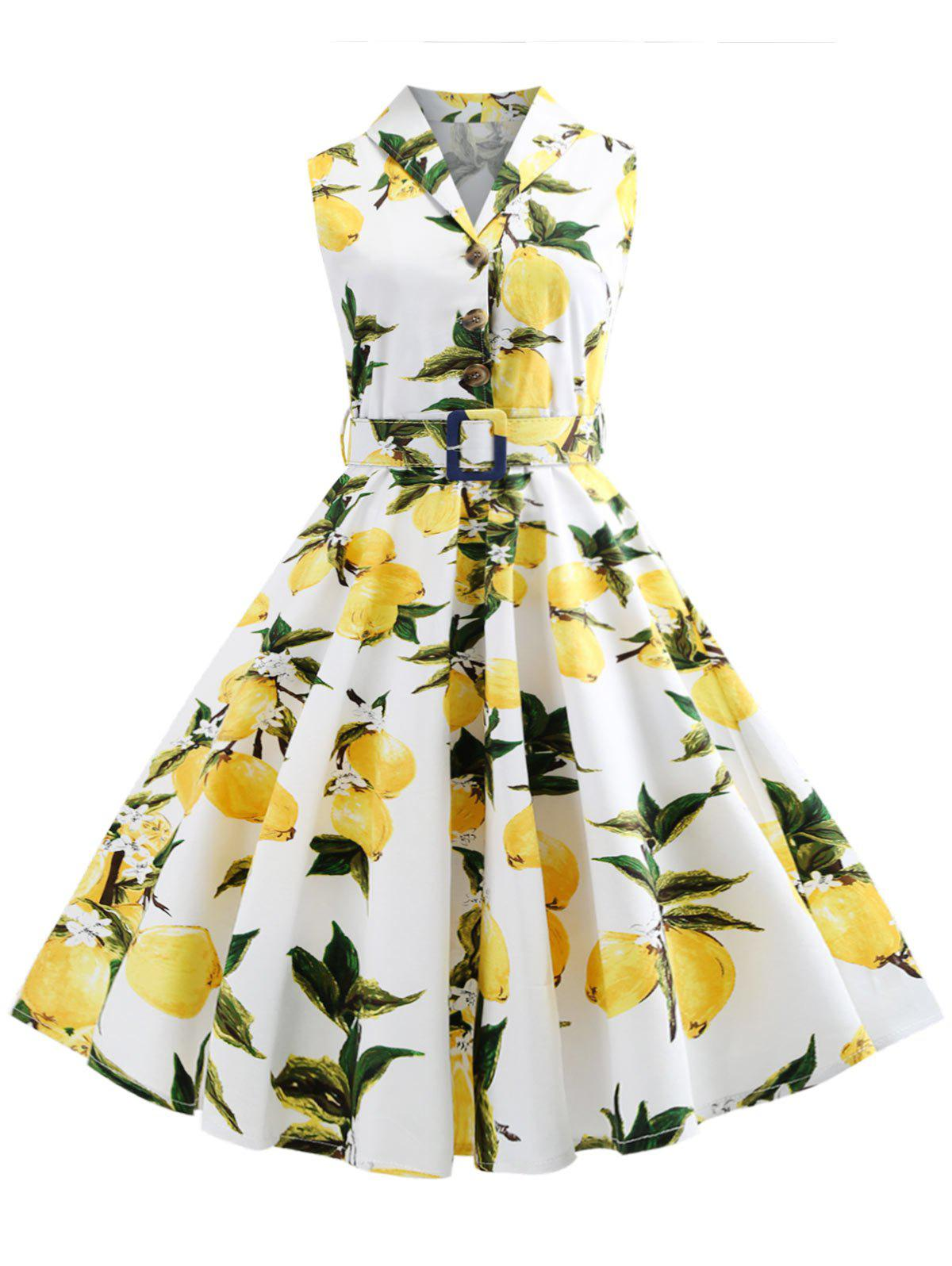 Online Lemon Print Button Embellished Vintage Dress