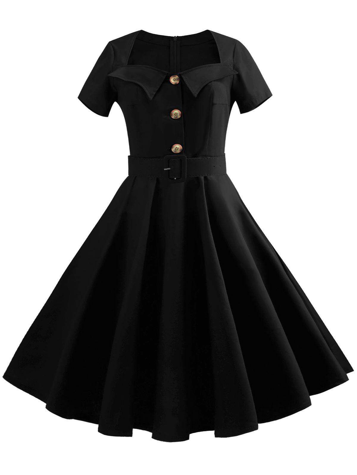 Shops Sweetheart Neck Button Embellished Vintage Dress