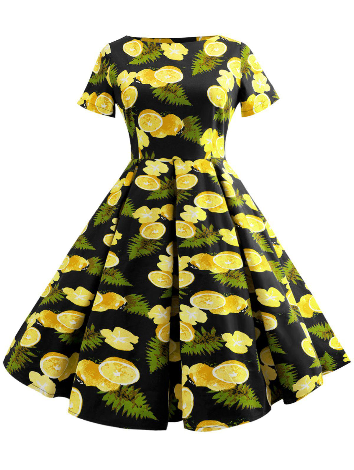 Cheap Fruit Print Short Sleeve A Line Dress