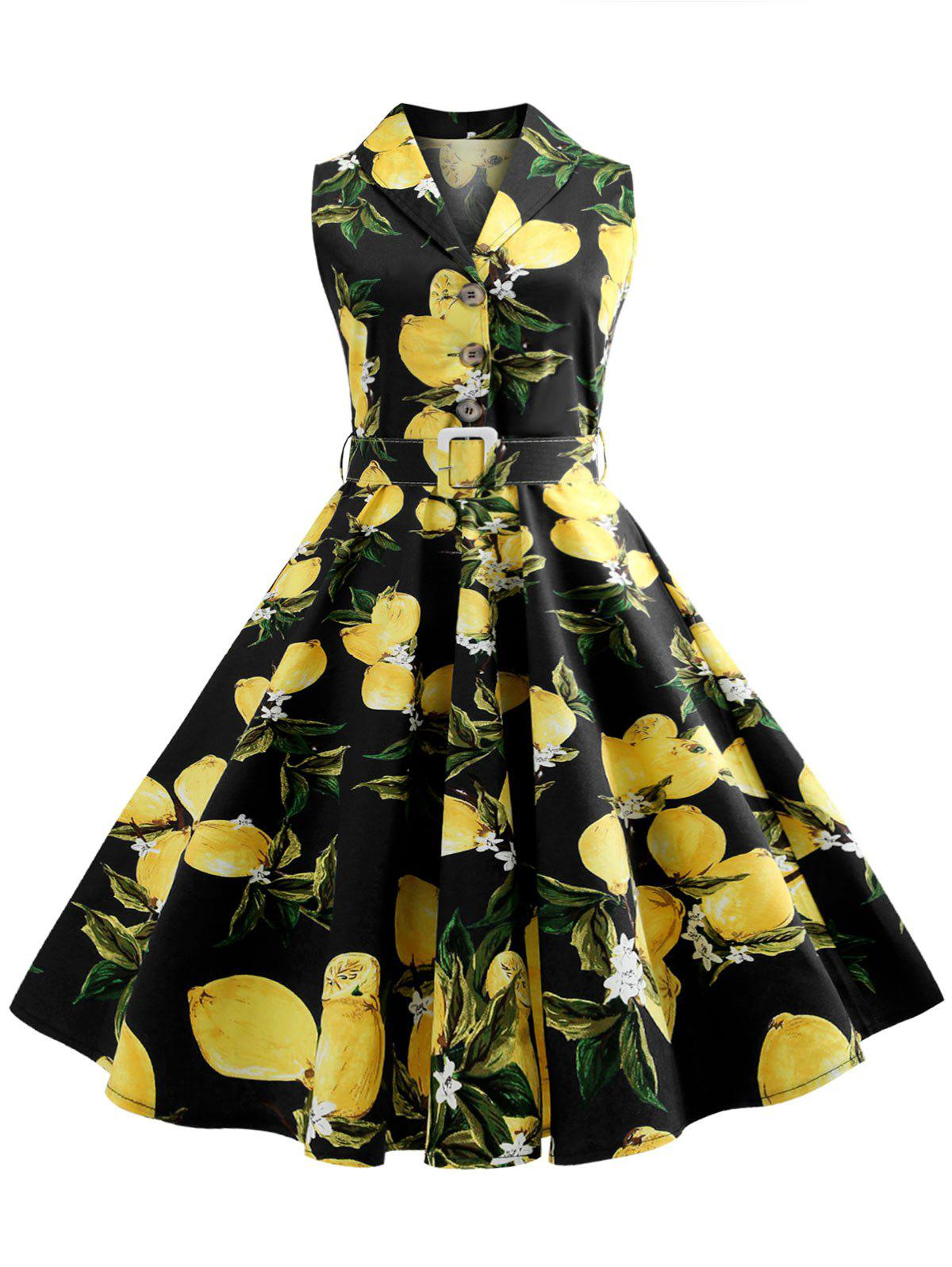Store Lemon Print Button Embellished Vintage Dress