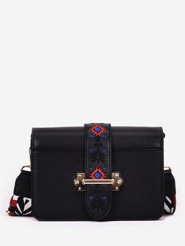 Chic Minimalist Faux Leather Ethnic Embroidery Crossbody Bag