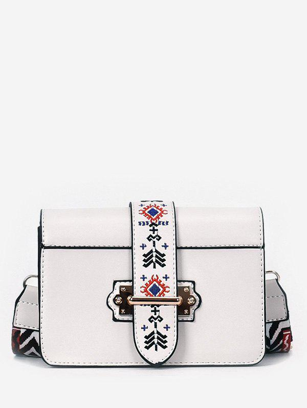 Discount Minimalist Faux Leather Ethnic Embroidery Crossbody Bag