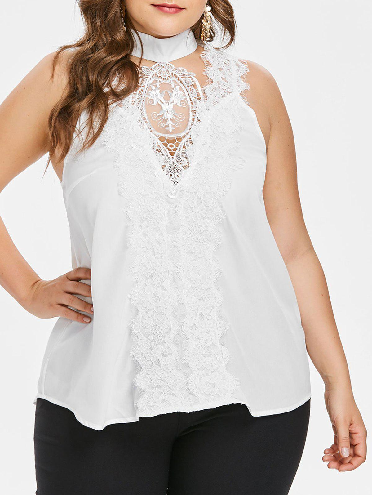 41586099c71 2019 Plus Size Lace Mock Neck Tank Top