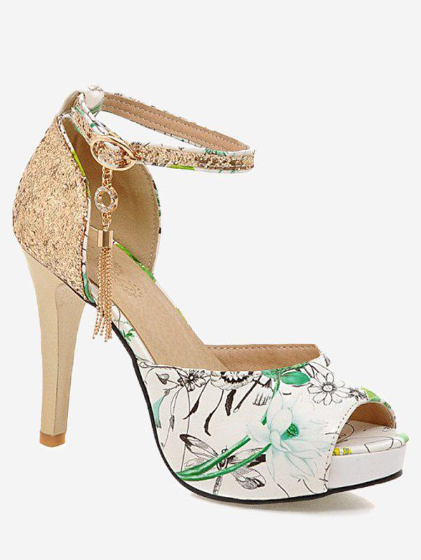 Cheap Plus Size High Heel Patchwork Metal Tassels Sequined Sandals