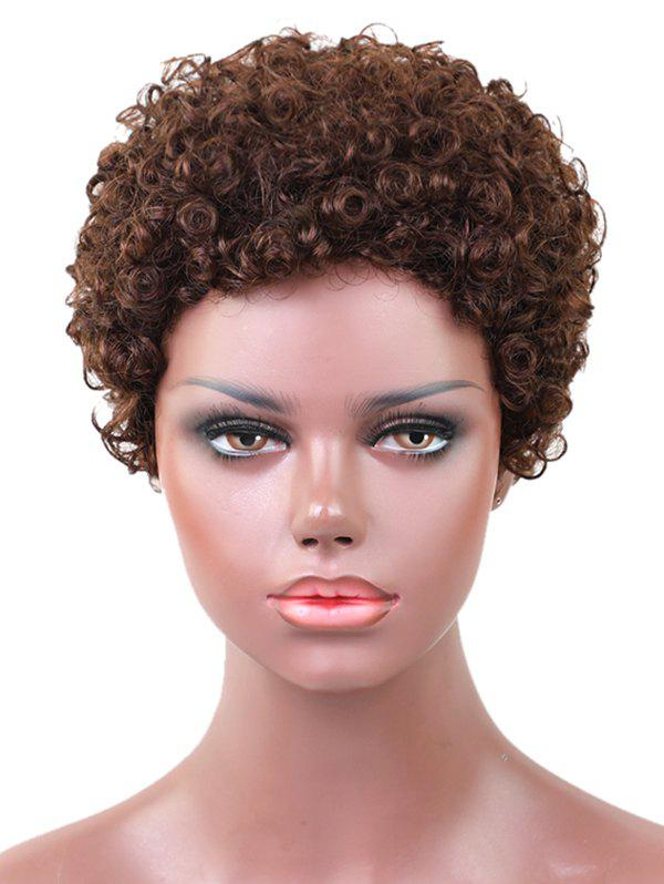 Hot Short Afro Kinky Curly Pixie Capless Human Hair Wig