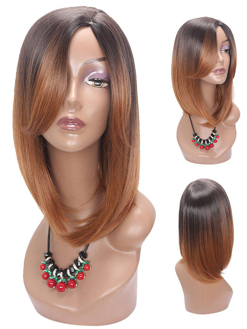 Sale Medium Side Parting Colormix Straight Synthetic Wig