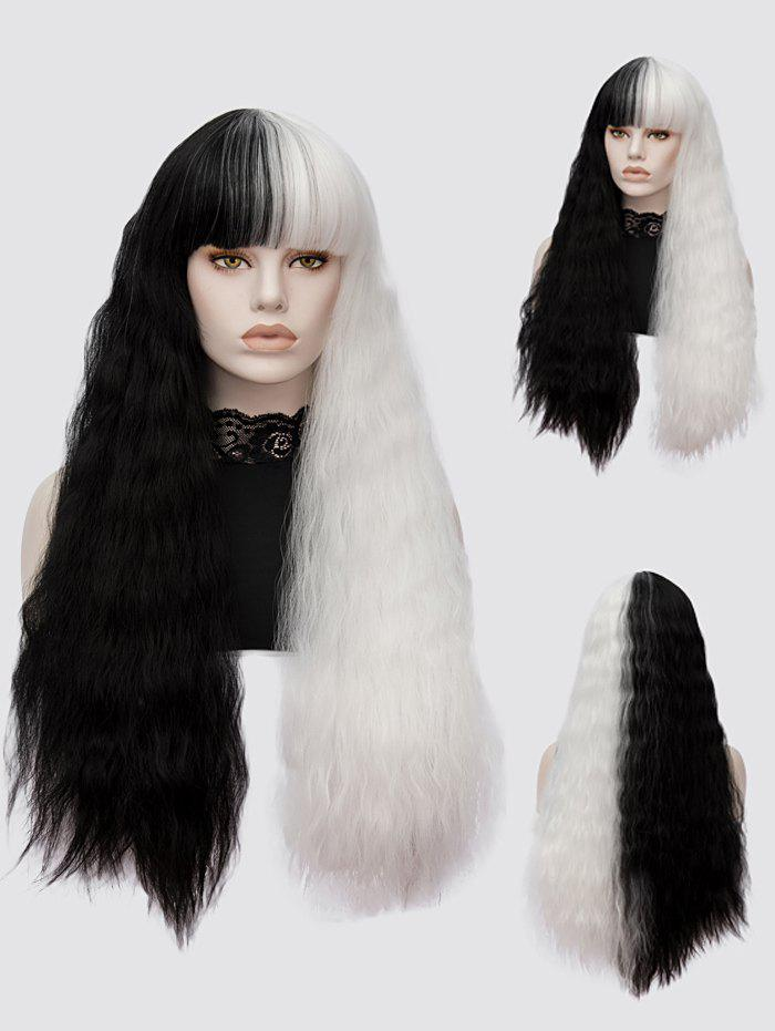 Latest Long Full Bang Two Tone Corn Hot Curly Lolita Synthetic Wig