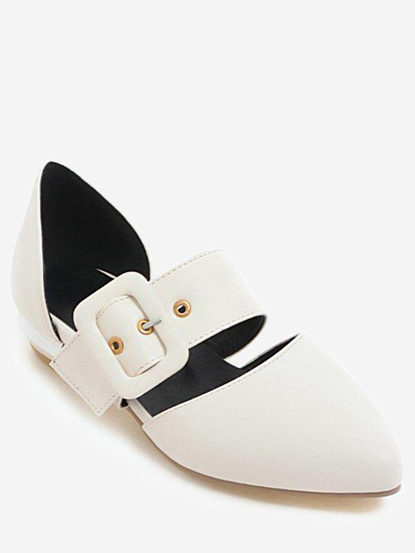 Cheap Plus Size Casual Buckled Pointed Toe Flats