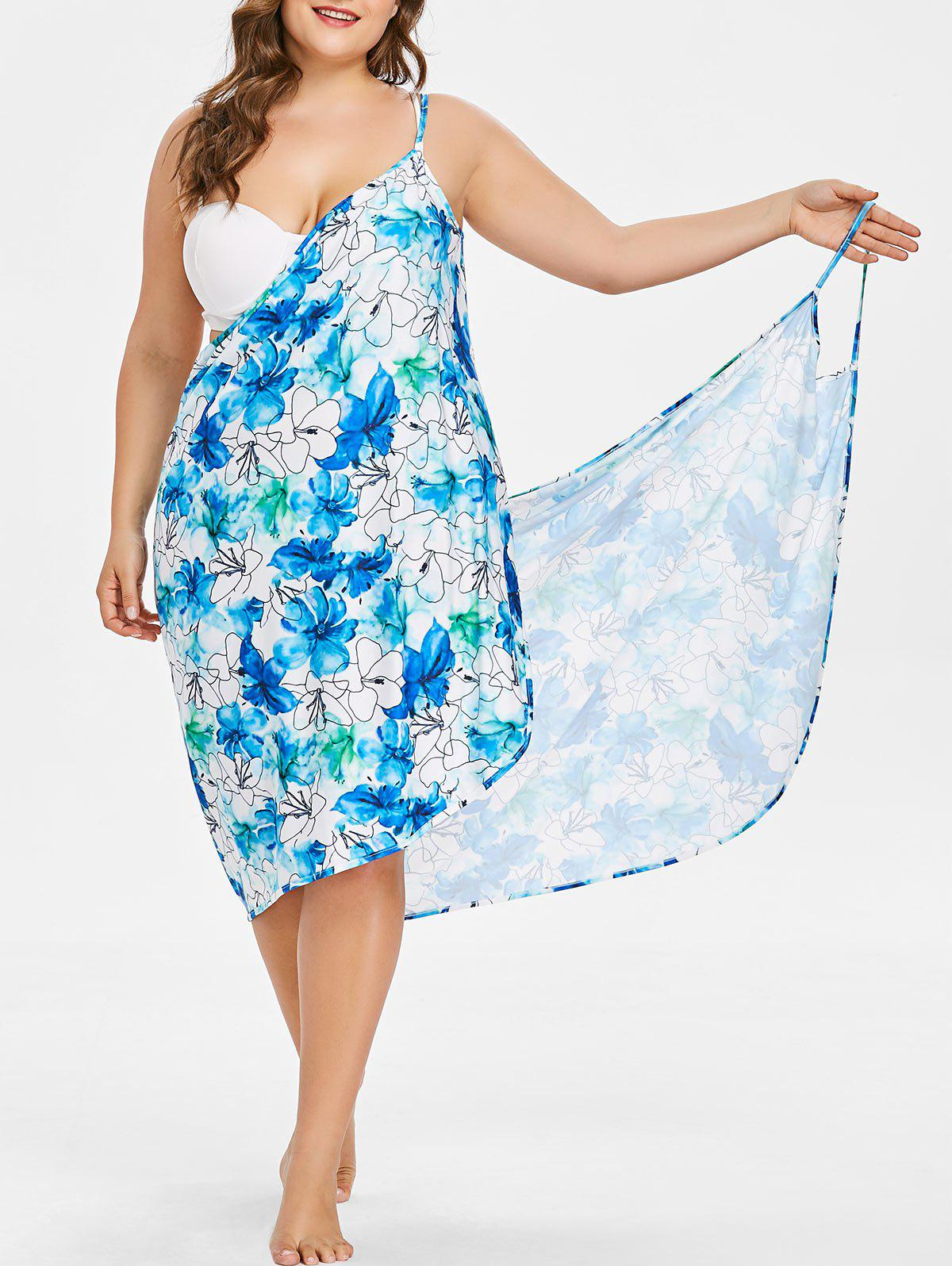 Cheap Floral Handpainted Print Plus Size Beach Dress